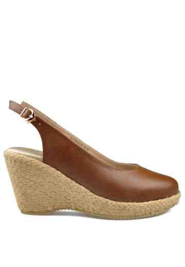 Selena Sling Back Wedges Brown