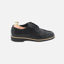 Derby Perforated Captoe Black