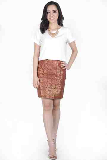 Dusty Pink Songket Skirt image