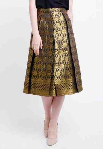Malia Songket Skirt in Gold image