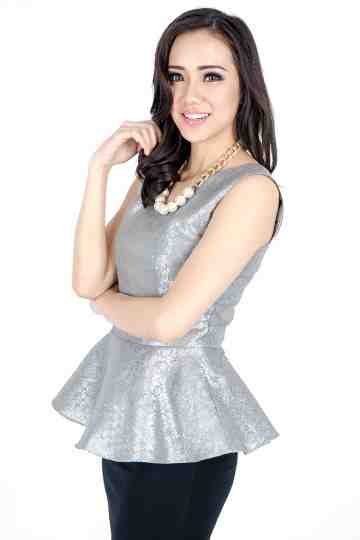 Songket Peplum Top in Silver image