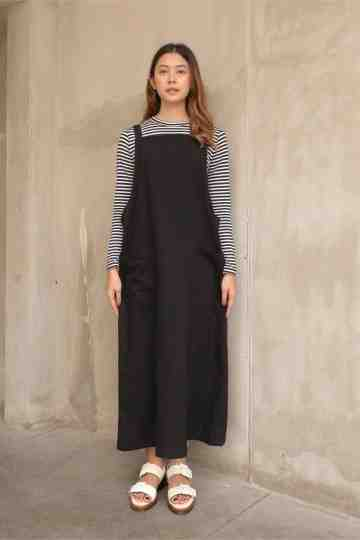 Areya Overall Dress Black