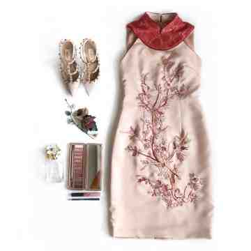 EMBROIDERY CHEONGSAM DRESS - RED image