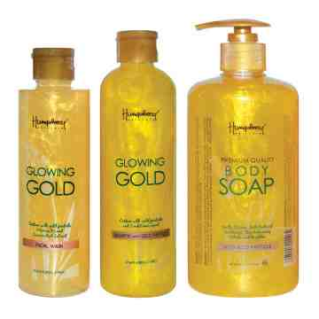 "Humphrey skin care Glowing gold ""Anti Aging"" package (shampoo - facial wash - body wash)"