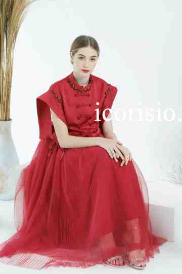HOPE HANBOK DRESS - WINE (MAROON) image