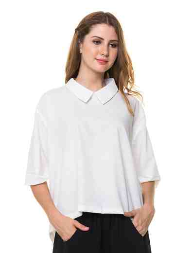 White Preppy Sally Shirt with back details
