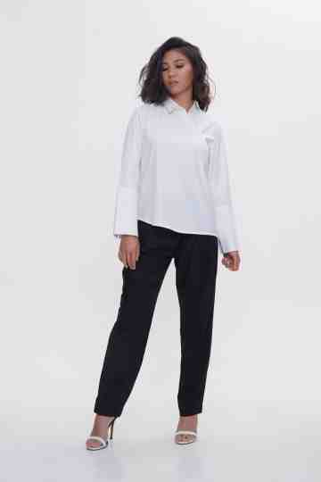White Long Sleeve Lie Top