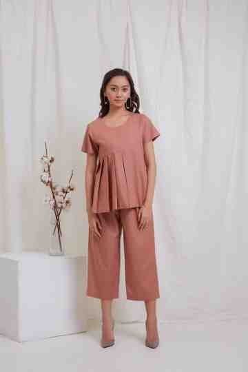 Copper Side Pleat Top