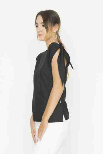 Black Side Knot Top