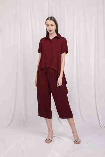 Asymetric Shirt Maroon
