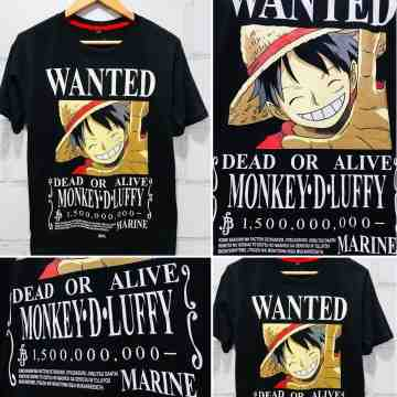 Kaos Luffy Wanted 1,5M Black
