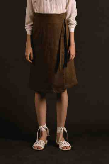Brown Malia Wrap Skirt
