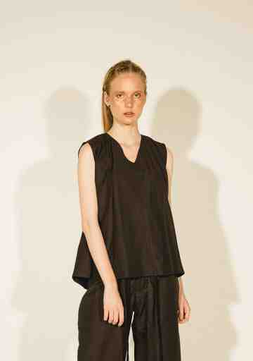 Black Crinkle Naia Pleated Shoulder Sleeveless Top