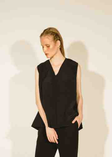 Black Naia Pleated Shoulder Sleeveless Top