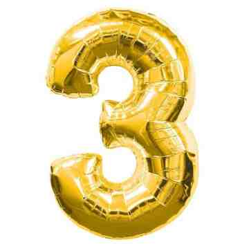 "15"" Number Balloon Gold - 3 image"