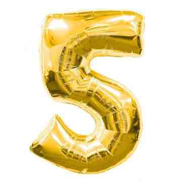 "15"" Number Balloon Gold - 5 image"