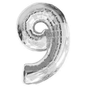 "15"" Number Balloon Silver - 9 image"