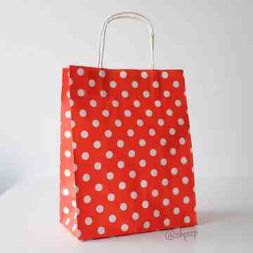 Paper Bag M Polkadot Bright Orange image