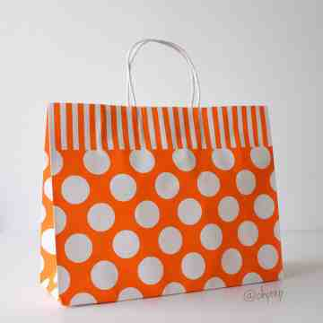 Paper Bag L Polkadot Bright Orange image