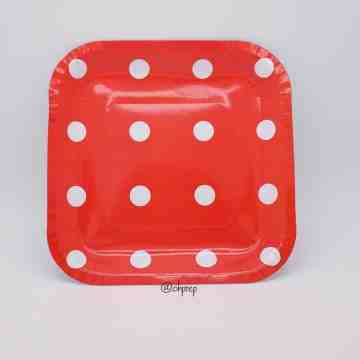Square Paper Plate - Polkadot Red image
