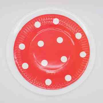 Round Paper Plate-Polkadot Red image