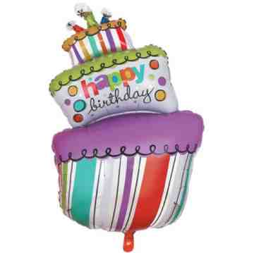 Birthday Cake Purple Balloon image