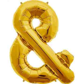 Ampersand Foil Balloon - Gold image