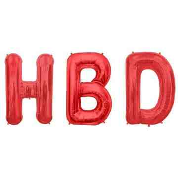 HBD Red Alphabet Balloon image
