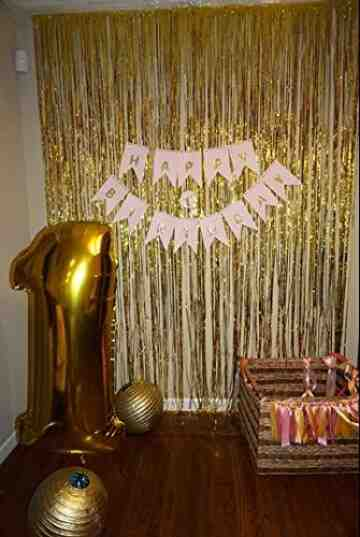 Foil Fringe Curtain - Gold image