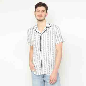 ONIISAN SUN SHORT SLEEVED PRINTED SHIRT WITH REVERE COLLAR COL 01