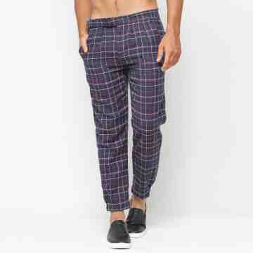 ONIISAN BLACK ANKLE PANTS PLAID WITH RUBBER