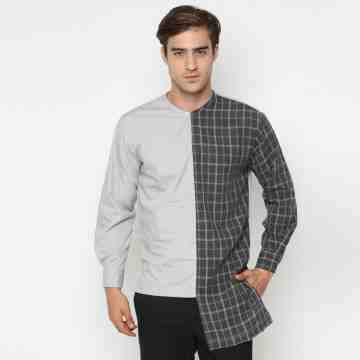 ONIISAN MEN'S LONG SLEEVED MIX-LENGTH ROUND NECK SHIRT