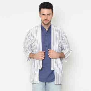 ONIISAN MEN'S 3//4 SLEEVED STRIPED LINEN YUKATA COL 01