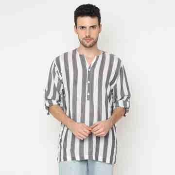 ONIISAN MEN'S ROLL-UP SLEEVED Y-NECK STRIPED SHIRT