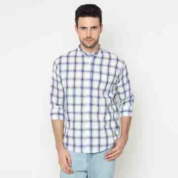 ONIISAN MEN'S 3/4 SLEEVED BUTTON DOWN PLAID SHIRT