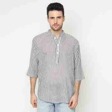ONIISAN MEN'S 3/4 LOOSE SLEEVED STRIPED SHIRT