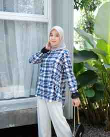 Flanel Blue Pink - size XL