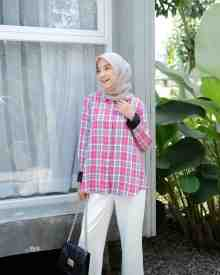 Flanel Pink Grey - size L