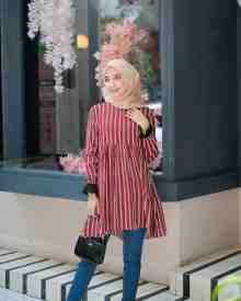 Aisha Tunik Stripe Maroon - size L (REJECT)