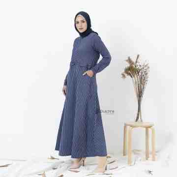 LINESTRIPPY DRESS DENIM