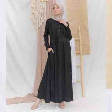 AUREE DRESS - PURE BLACK