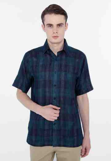 Kemeja tootal short check dark brown image