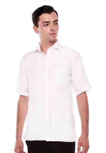 Shirt Linen White Spread Collar image