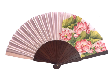 Handpainted Silk Fan Lotus Flower image