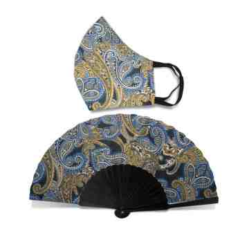 New Normal HandFan Set Paisley Navy Blue No. 44 image