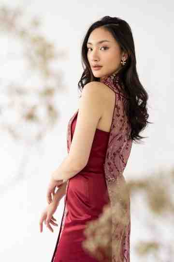 MU LAN DRESS - MAROON image