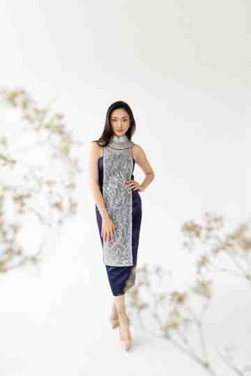 MU LAN DRESS - NAVY image