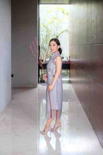 RUE CHEONGSAM DRESS - GRAY image