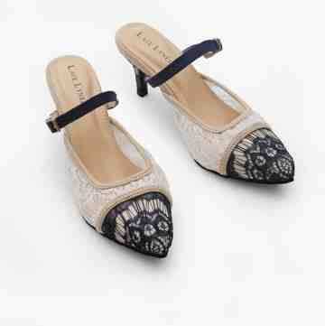 Lace Lynelle Heels Eloise White Navy