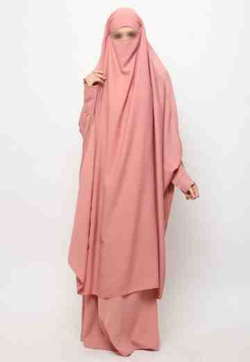 Muazah Set French Khimar - Dusty Pink